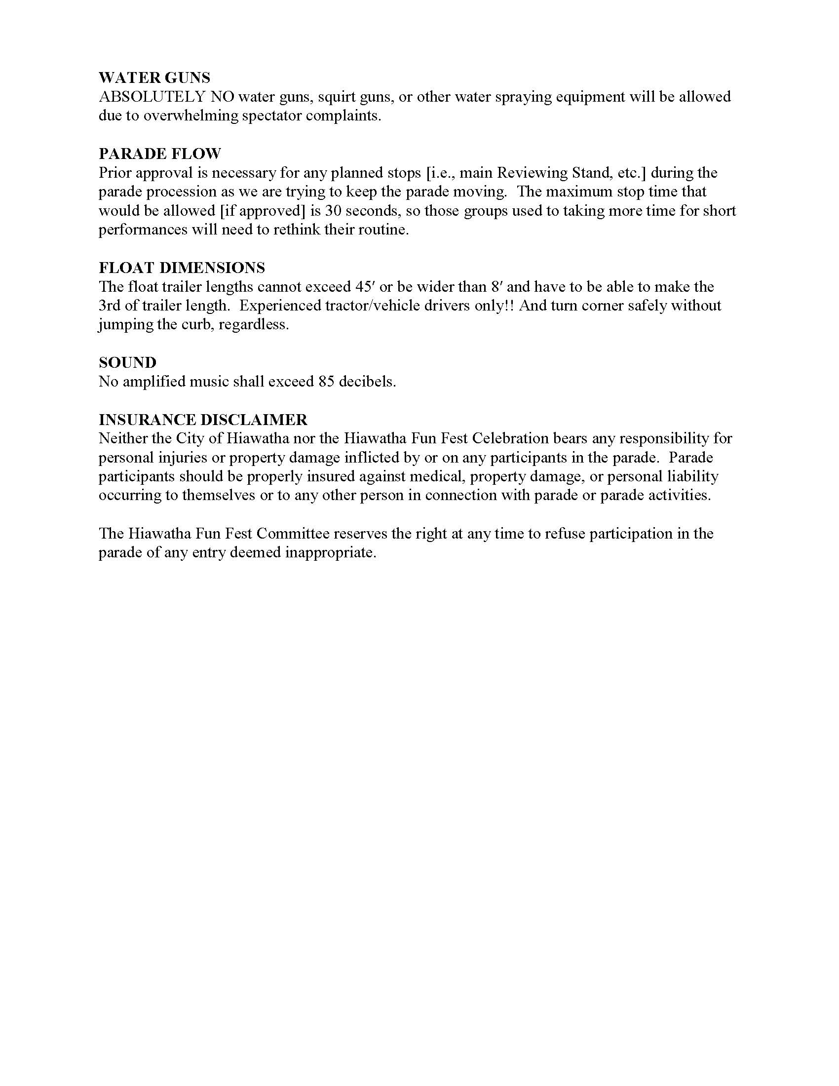 Hiawatha Fun Fest Parade Guidelines Page two