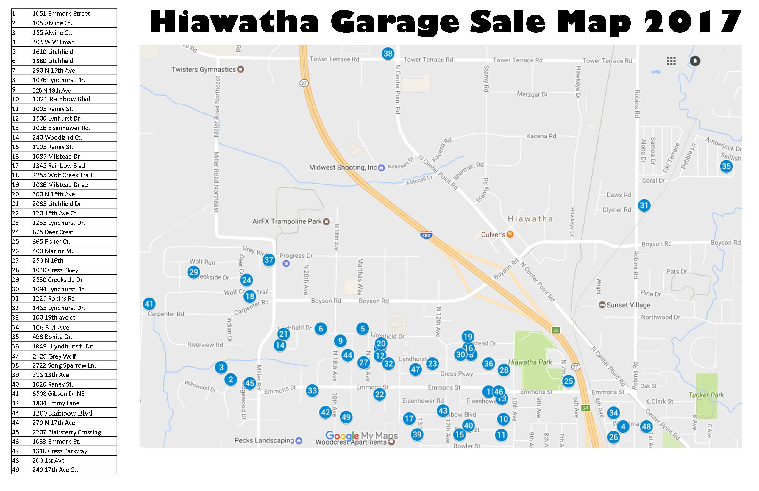 City Wide Garage Sales May 6th City Of Hiawatha News