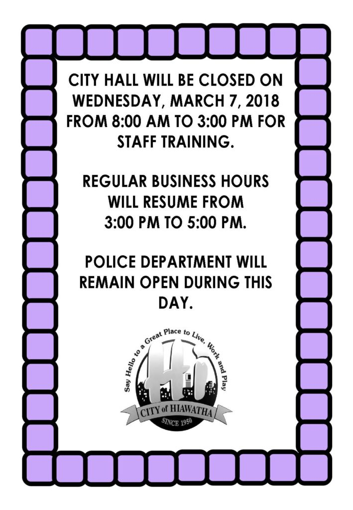 2018 CITY HALL CLOSED FOR STAND DOWN DAY
