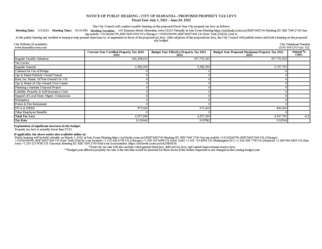 Public hearing notice max levy FY22 revised 2-18-2021